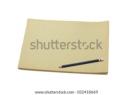 Pencil and old blank sketch book isolated on white background