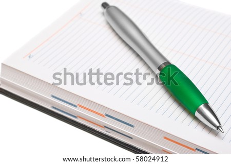 Pencil and Pocket Planner on white background