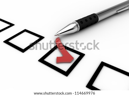 pencil and red check with the company that can be used in education and visual white background