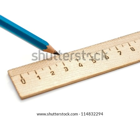 Pencil and rulers on a white background.