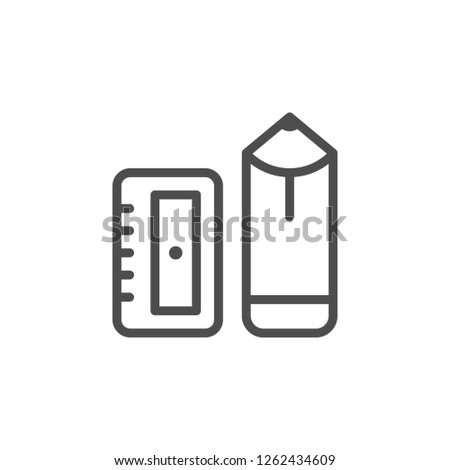 Pencil and sharpener line icon isolated on white