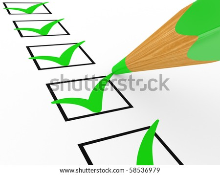 Pencil and the list with marks in a white background