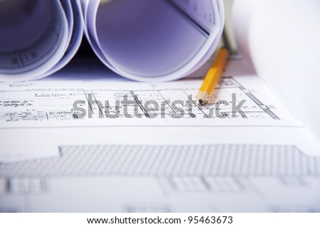 pencil, blueprints and documents, workplace building engineer