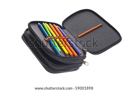 pencil-case on white background - stock photo