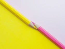 pencil color, yellow and pink on paper.