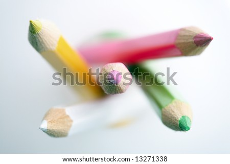 Pencil crayons. Shallow depth of field with focus on tips of the crayons.
