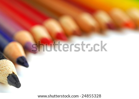 Pencil crayons studio isolated on white background