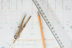pencil design engineering design, ruler and compass closeup, Construction drawings