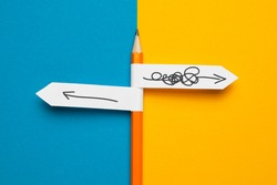 Pencil - direction indicator - order and chaos. Reorganization and analysis, choosing right solution to problem.