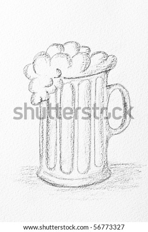 Pencil Drawing Of A Beer Mug Stock Photo 56773327 ...