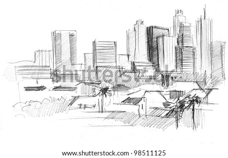 pencil drawing of a big modern city with skyscrapers