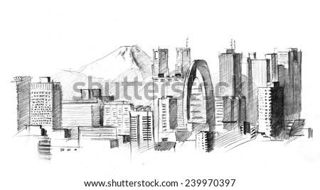 Tokyo Simple Drawing Pencil Drawing of a Big Modern