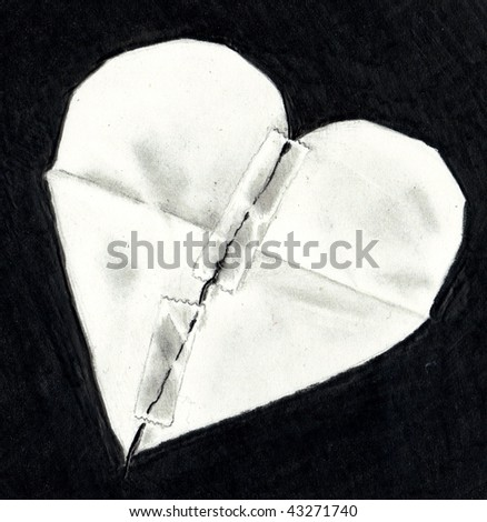 Broken Heart Drawings by Pencil http://www.shutterstock.com/pic-43271740/stock-photo-pencil-drawing-of-a-broken-paper-heart.html
