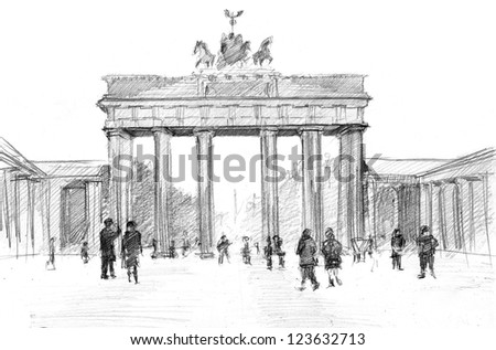 Pencil drawing of a center of Berlin: Brandenburger Tor