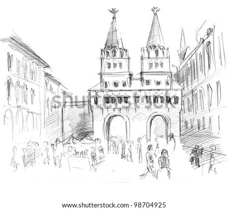 Pencil drawing of a center of Moscow: gate to red square