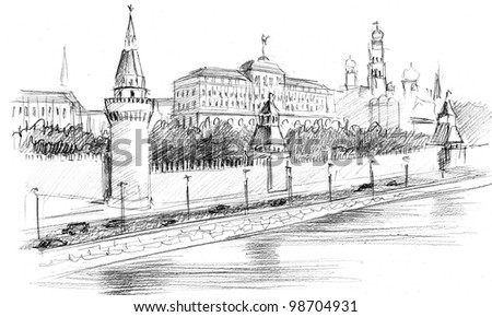 Pencil drawing of a center of Moscow: Kremlin quay