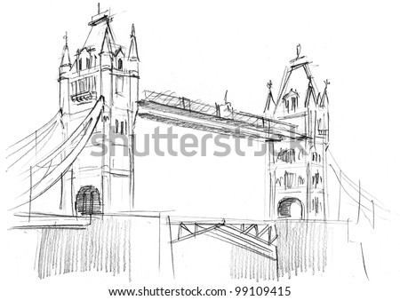 Pencil drawing of a London bridge