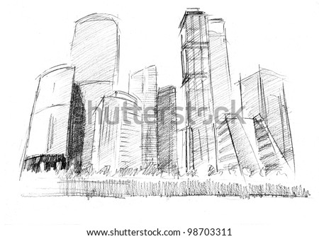 Futuristic Skyscrapers Drawings Pencil Drawing of a Modern