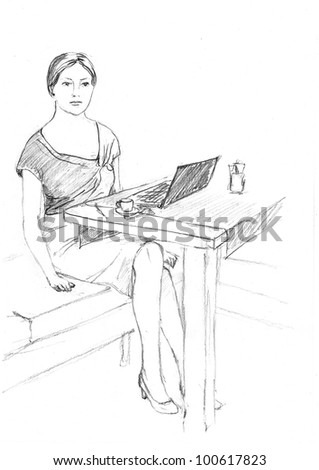 pencil drawing of a woman near her laptop
