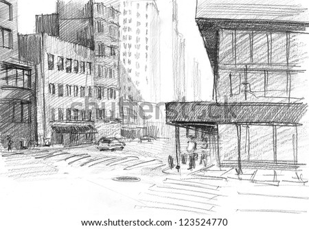 Pencil drawing of An old street in Chicago