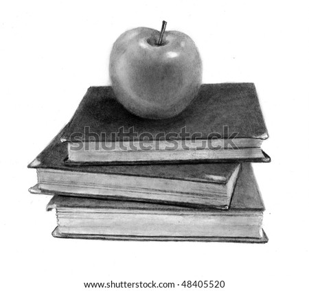 Pencil Drawing of Apple on Old Books - stock photo