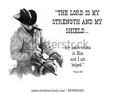 Pencil Drawing of Cowboy with Scripture Verse, Psalms