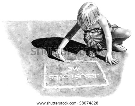 "Pencil Drawing of Girl Writing ""Jesus Loves Me"" on Pavement"