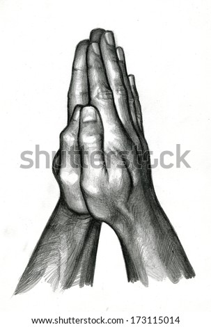 Pencil Drawing Of Human Hands In Praying Stock Photo ...