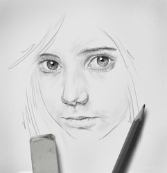 pencil drawing of of beautiful girl with big eyes