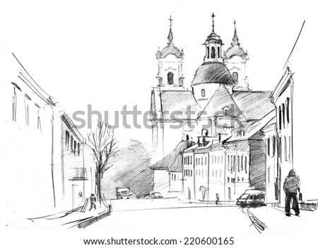 Russian Church Drawing Pencil Drawing of Old Street