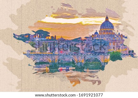 Pencil drawing of St. Peter's cathedral with river in Rome, Italy on brown paper.