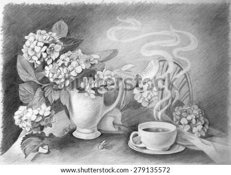 Pencil drawing of still life cup of hot coffee and flower in vase on table in cafe