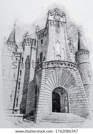 Pencil Drawing Style - Ancient Castle - Episcopal Palace Astorga