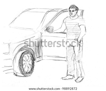 pencil drawn handsome man and his own car