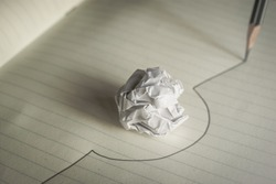 Pencil drawn line avoid a crumpled paper ball avoid mistakes concept.
