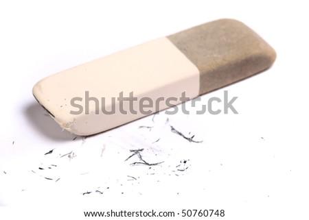 Pencil eraser and eraser leftovers