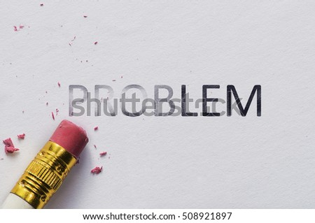 Pencil eraser with eraser. Erase PROBLEM text