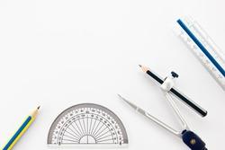 Pencil, Half circle ruler, dividers and ruler as drawing instruments.