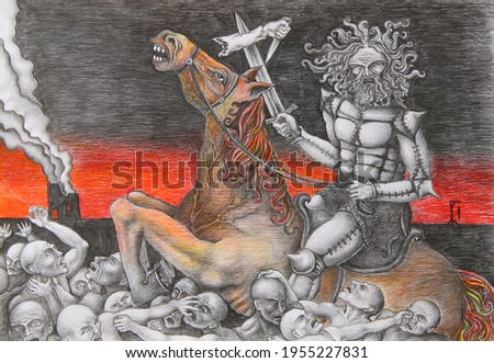 pencil illustration to the Bible 'horsemen of the Apocalypse' red horse of death. rider with a sword on horseback tramples people Foto stock ©