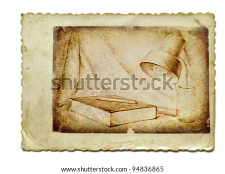 Pencil in the old background. Still life with lamp and book.