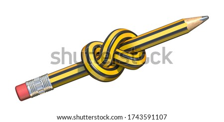 Pencil knot 3D render illustration isolated on white background Stock photo ©