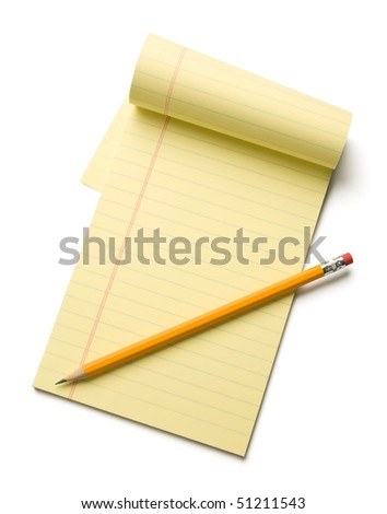 Pencil laying on an opened note pad isolated on white background.