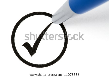 Pencil making a check sign in a circled box. Isolated on white.