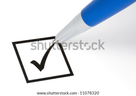 Pencil making a check sign in a square box. Isolated on white.