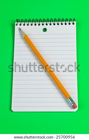 Pencil on a lined pad of paper