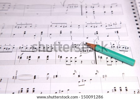 Pencil on a musical score