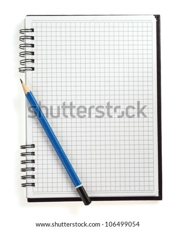 pencil on checked notebook isolated on white background
