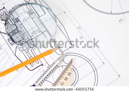 pencil, pen and magnifier on drafting of crane hook