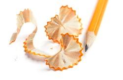 Pencil shavings over white background