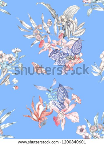 Pencil sketch combined with watercolor, the flowers on the blue background show a very delicate, delicate content